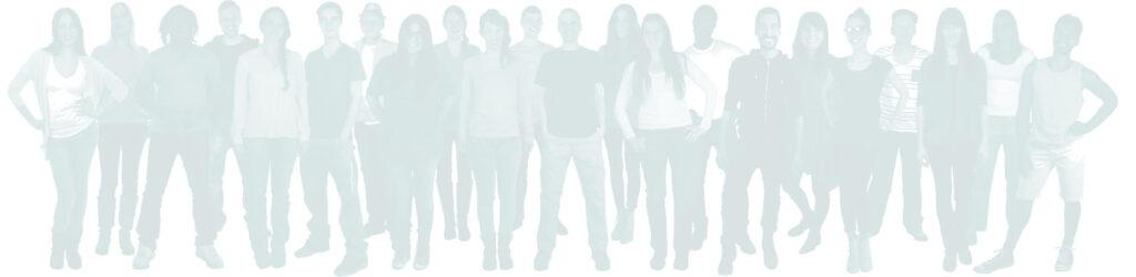 Unge mennesker i lys turkis silhuet